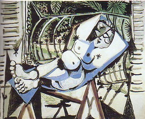 Mujer desnuda delante del jardin (1956)